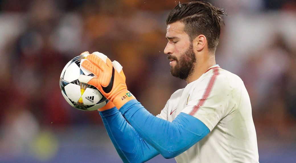 cea7ad08ba5 Roma goalkeeper Alisson Becker catches the ball during the warm-up ahead of  the Champions League semifinal second leg soccer match between Roma and ...