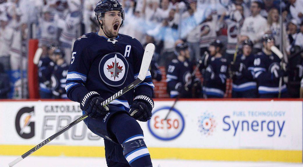 Winnipeg-Jets'-Mark-Scheifele-celebrates-a-goal.