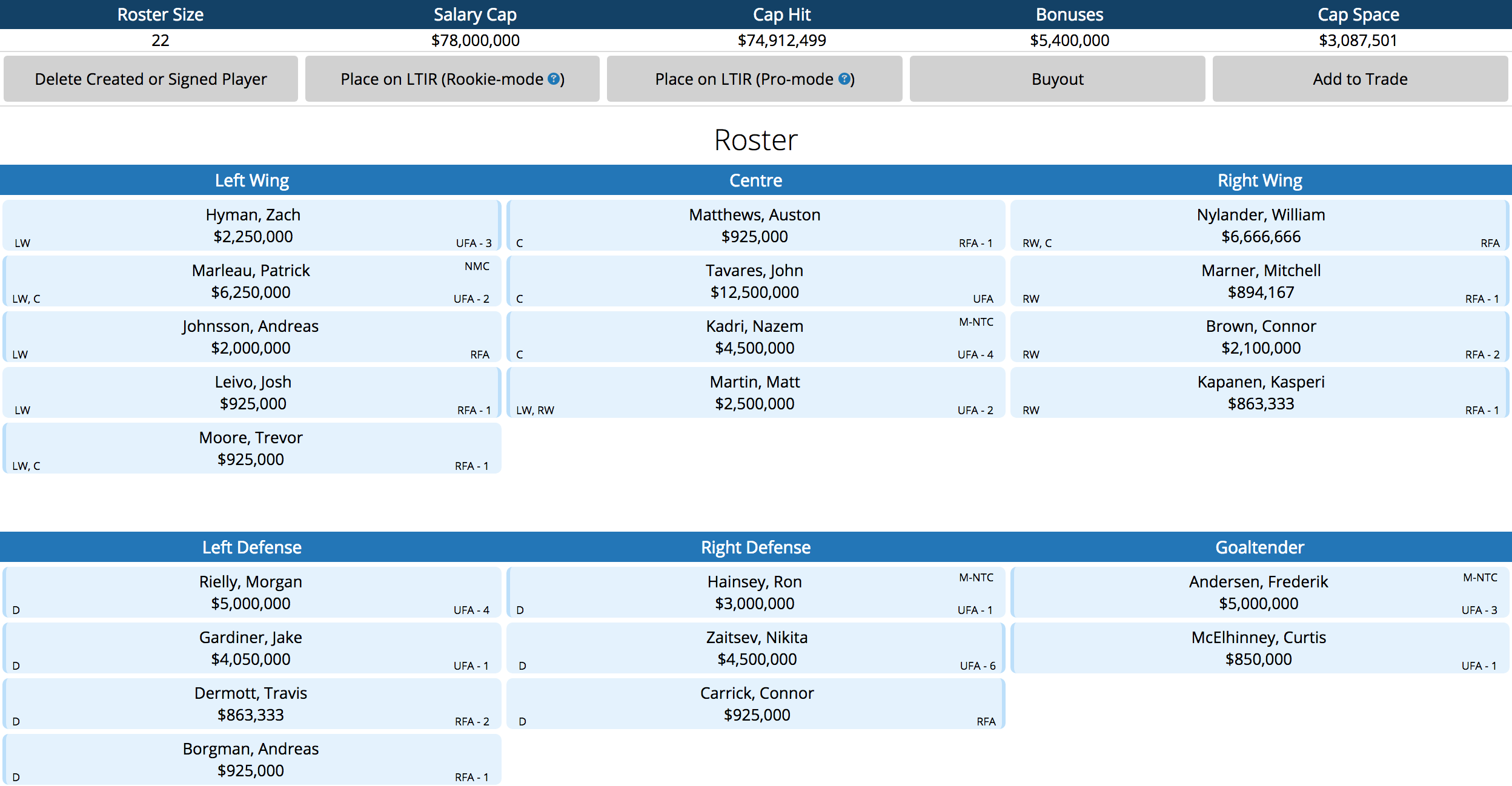This is my 2018-19 Leafs roster that I made on CapFriendly.com s Armchair  GM mode. e6ca9d49216
