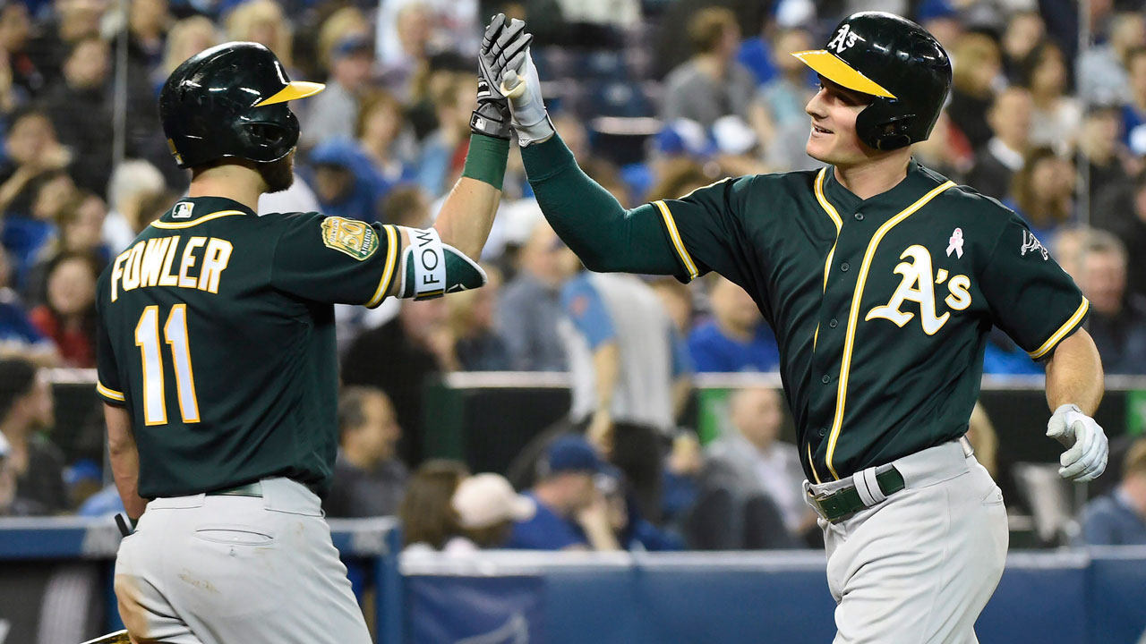 Athletics belt three homers in win over Blue Jays