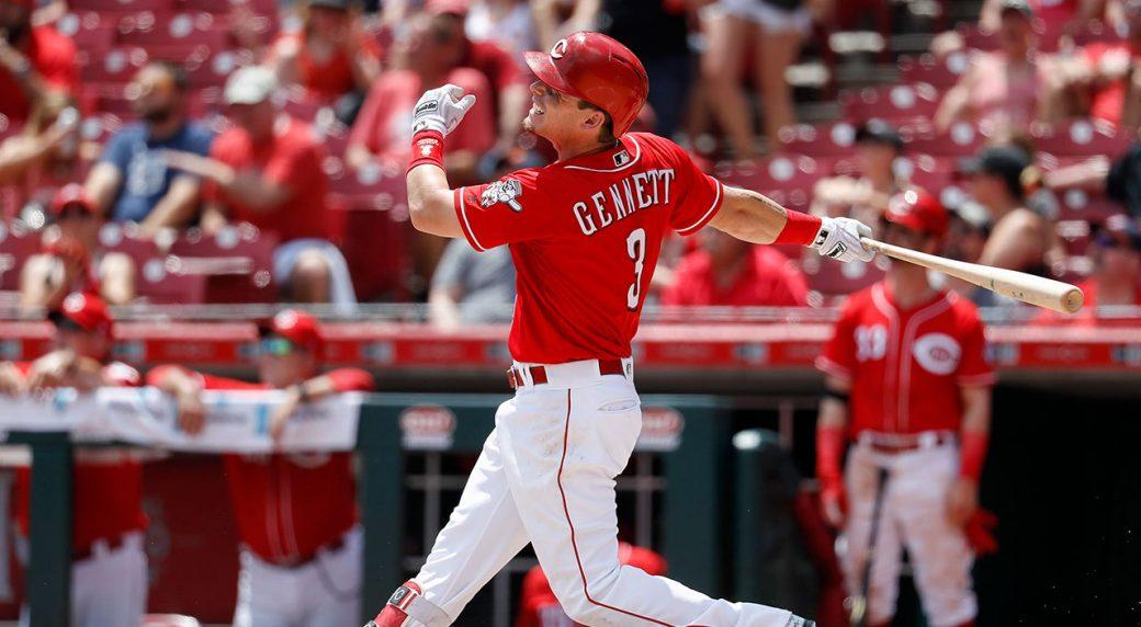 79f507414 Cincinnati Reds  Scooter Gennett hits a two-run home run off Detroit Tigers  starting pitcher Michael Fulmer. (John Minchillo AP)