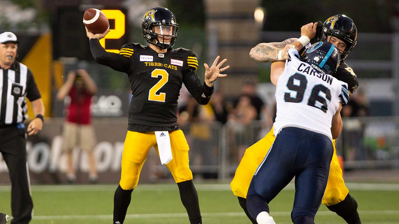 57d441260 Johnny Manziel throws for 80 yards in CFL debut for Tiger-Cats. Hamilton ...