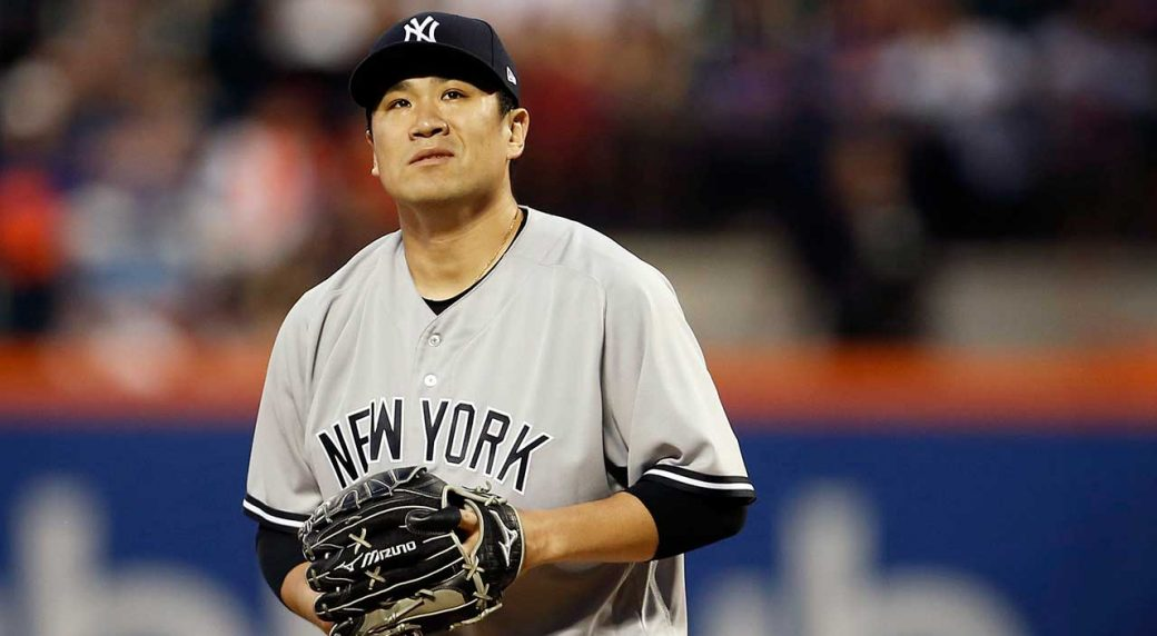 9b3ac8cedcf Yankees starter Tanaka removed with injury after running bases. New York  Yankees pitcher Masahiro ...