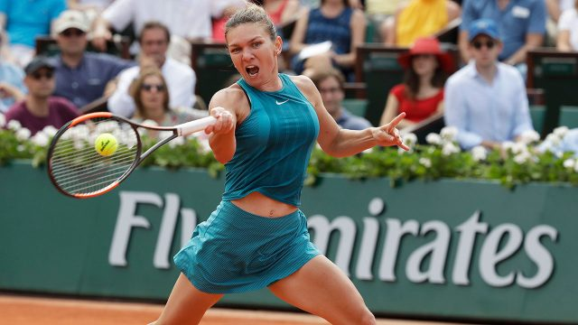 Simona-Halep-plays-shot-against-Sloane-Stephens-in-French-Open-final