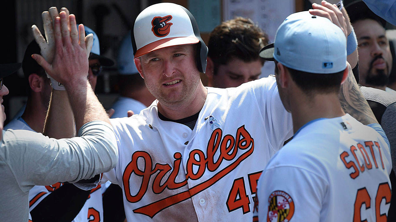 Mark-trumbo-congragulated-after-hitting-solo-home-run
