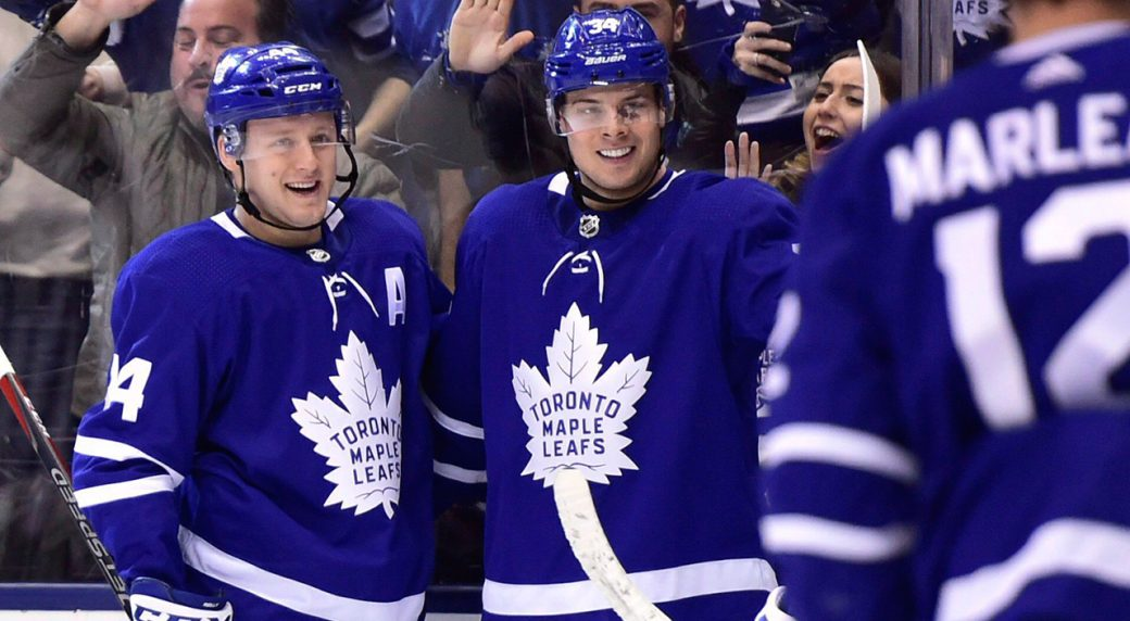 fde04f5af1f Toronto Maple Leafs centre Auston Matthews (centre) celebrates a goal with  teammates Morgan Rielly (left) and Patrick Marleau (12). (Frank Gunn CP)
