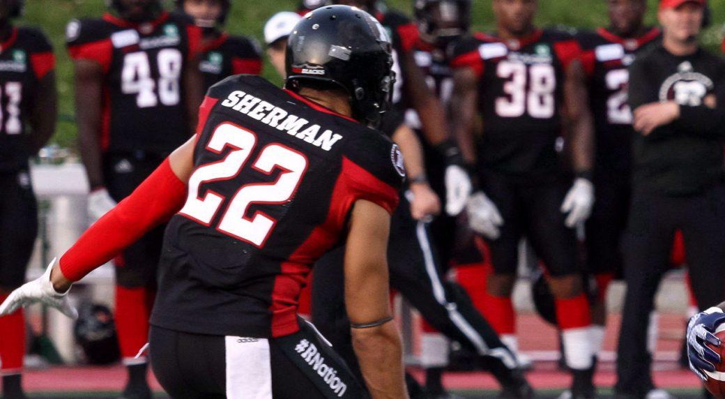 CFL-Redblacks-cornerback-Teague-Sherman-defending