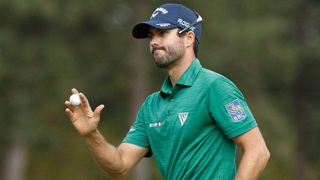 Golf-Adam-Hadwin-reacts-after-birdie