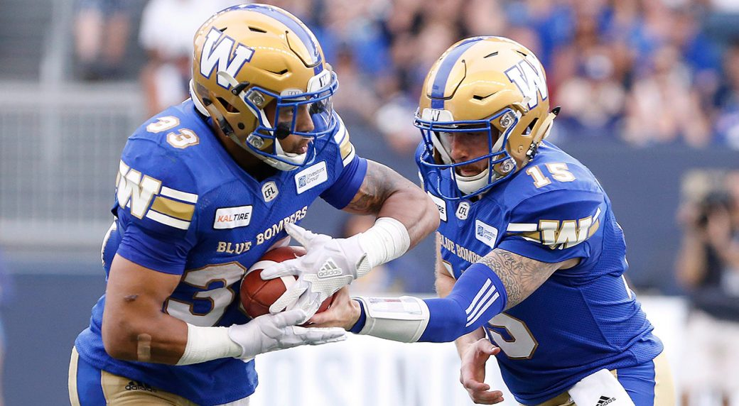 37f0b7552c0 Winnipeg Blue Bombers quarterback Matt Nichols (15) hands off to Andrew  Harris (33) during the first half against the B.C. Lions. (John Woods CP)