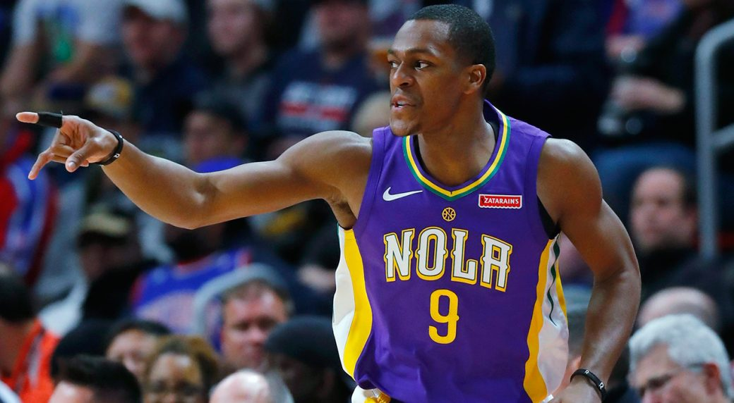 674e6462a810 Former New Orleans Pelicans guard Rajon Rondo (9) says he expects the L.A.  Lakers to be in