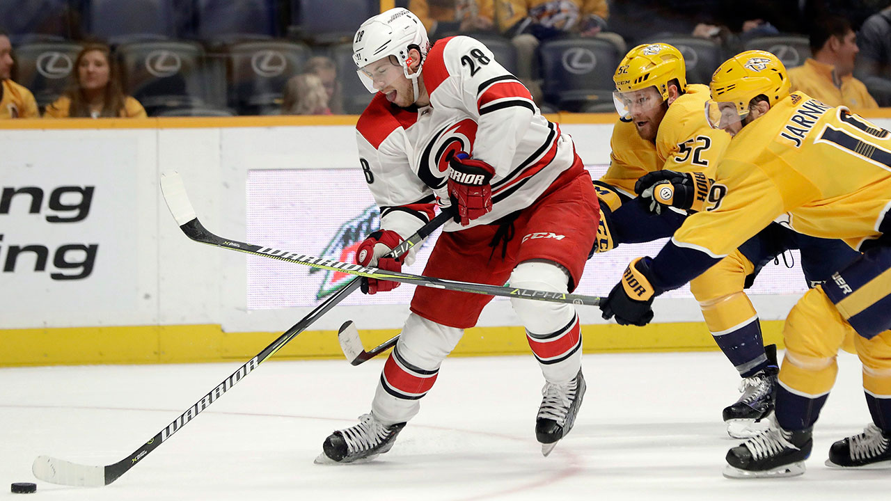 Elias-lindholm-skates-with-puck-with-carolina-hurricanes