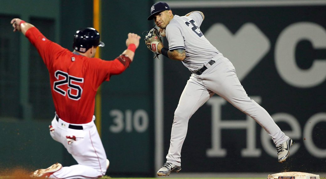 a4b8e4e34 Boston Red Sox s Steve Pearce (25) is forced out at second as New York  Yankees second baseman Gleyber Torres turns a double play on J.D. Martinez  at first ...
