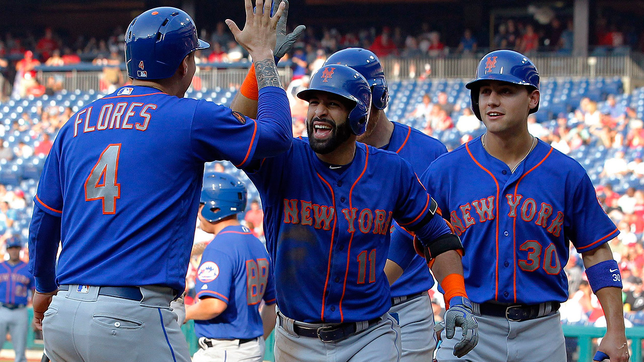 Bautista drives in 7, Mets set record with 24 runs over Phillies