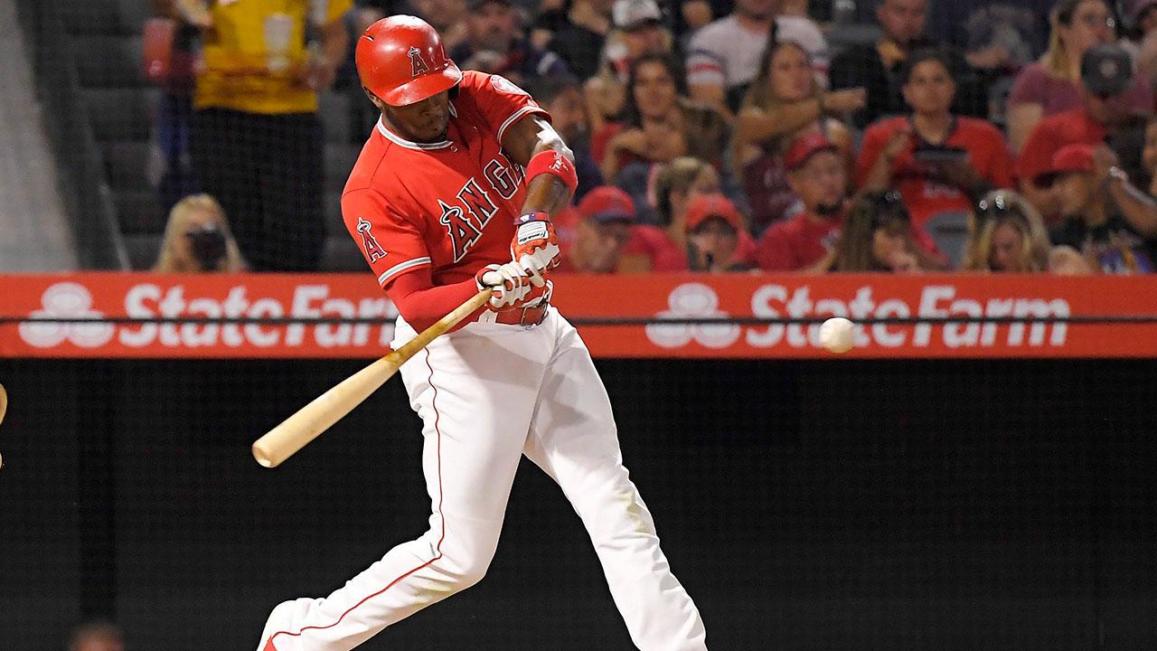 Mlb-angels-upton-hits-home-run-against-athletics