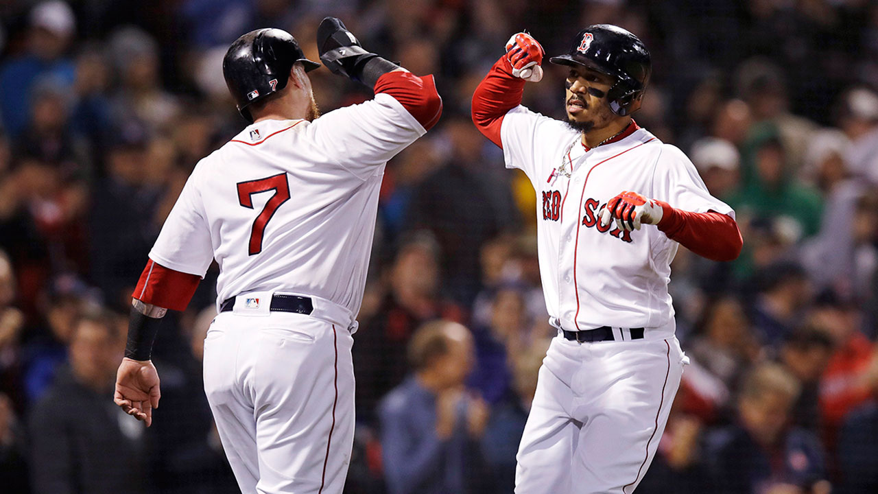 Mlb-red-sox-betts-celebrates-home-run-against-orioles