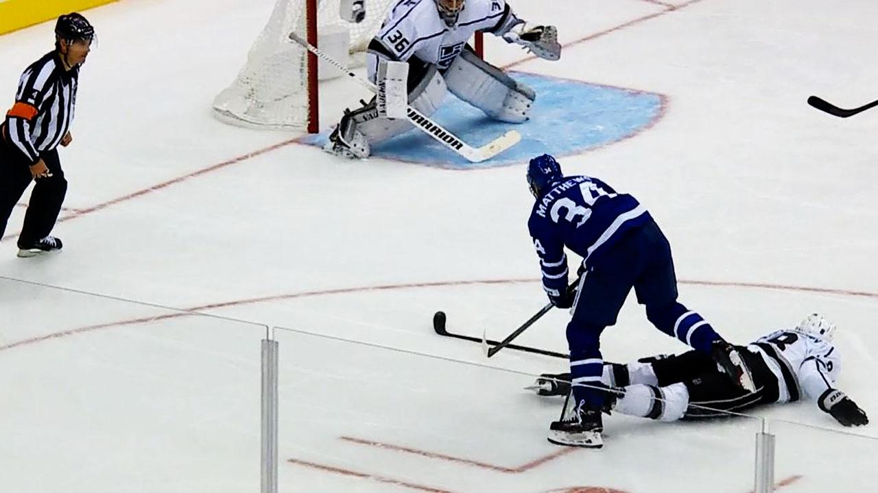Matthews dekes around Doughty to feed Kapanen for back-hander