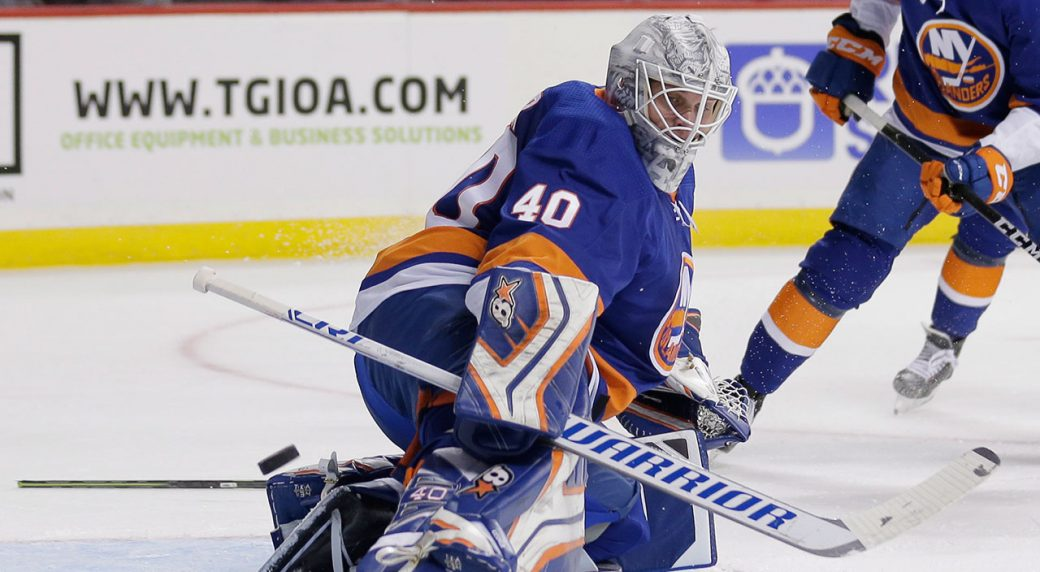 New York Islanders Goaltender Robin Lehner Deflects A Shot Seth Wenig AP