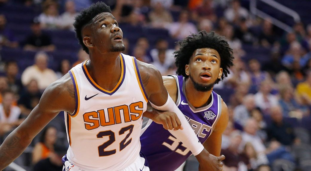 43576fd4f515 Phoenix Suns center Deandre Ayton (22) boxes out Sacramento Kings forward  Marvin Bagley III