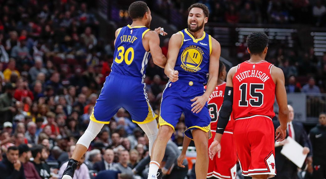 547a3cd88b79 Warriors score 92 in first half en route to easy win over Bulls. Golden  State Warriors guard Klay Thompson ...