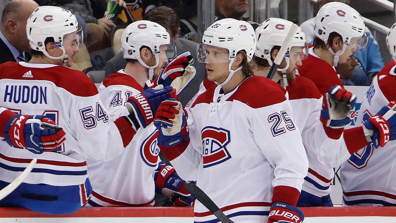 Nhl-canadiens-de-la-rose-celebrates-goal-against-penguins
