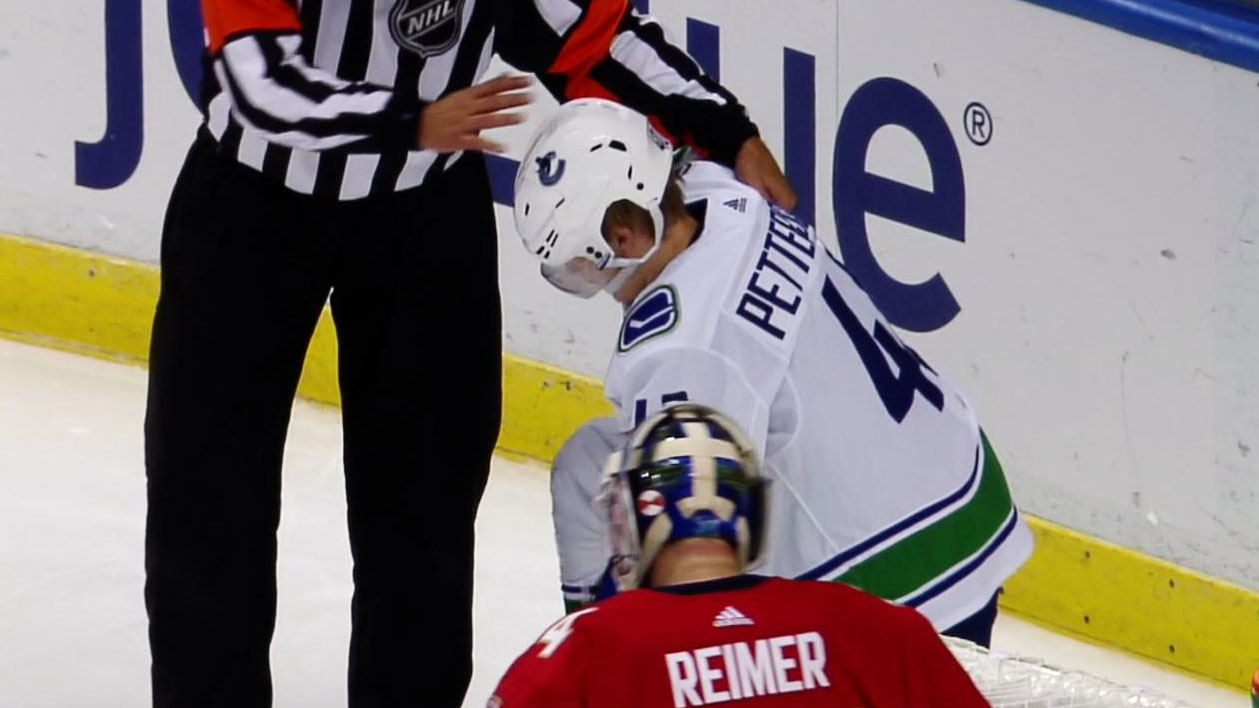 1b29486ff Pettersson injury takes shine off Canucks  win over Panthers. Bo Horvat  scored the winning goal ...