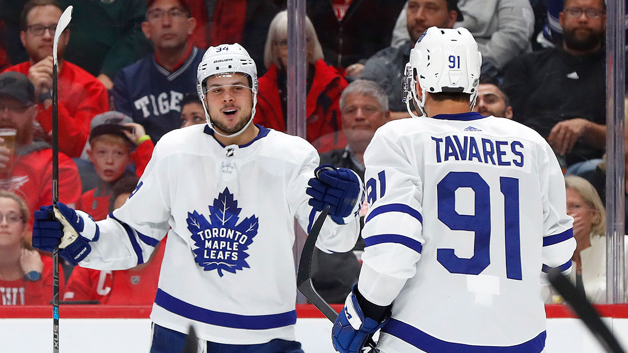 Auston Matthews scores 2 to help Maple Leafs beat Red Wings