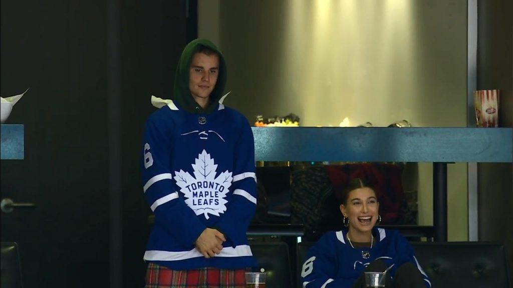 58d445588bf7 Justin Bieber   Hailey Baldwin take in Maple Leafs game - Sportsnet.ca