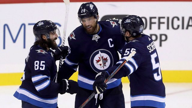 Mathieu-Perreault-Blake-Wheeler-Mark-Scheifele-celebrate-Winnipeg-Jets-goal