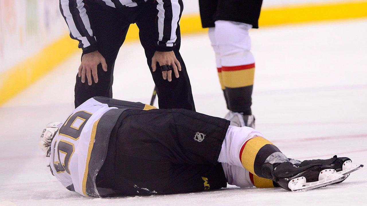 Erik-haula-on-ice-suffers-injury-vs-maple-leafs