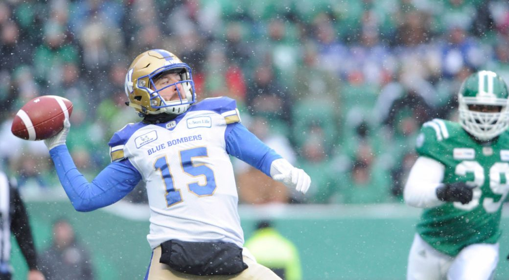 7404ce8c76b Winnipeg Blue Bombers quarterback Matt Nichols attempts a pass against the  Saskatchewan Roughriders. (Mark Taylor THE CANADIAN PRESS)