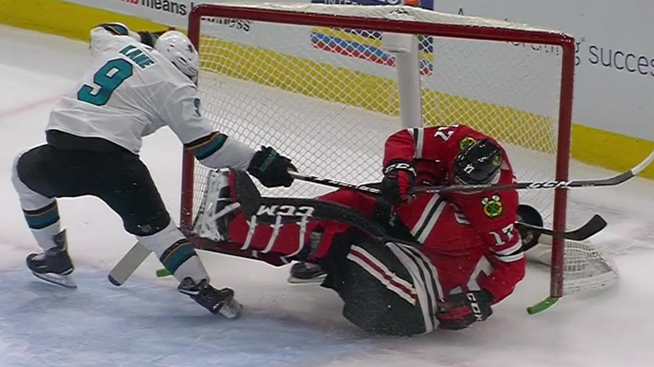 Crawford leaves game after Strome bulldozes him into the net