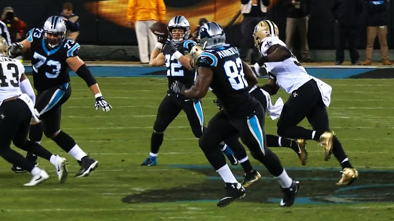 Panthers roll dice, McCaffrey passes for touchdown on trick play