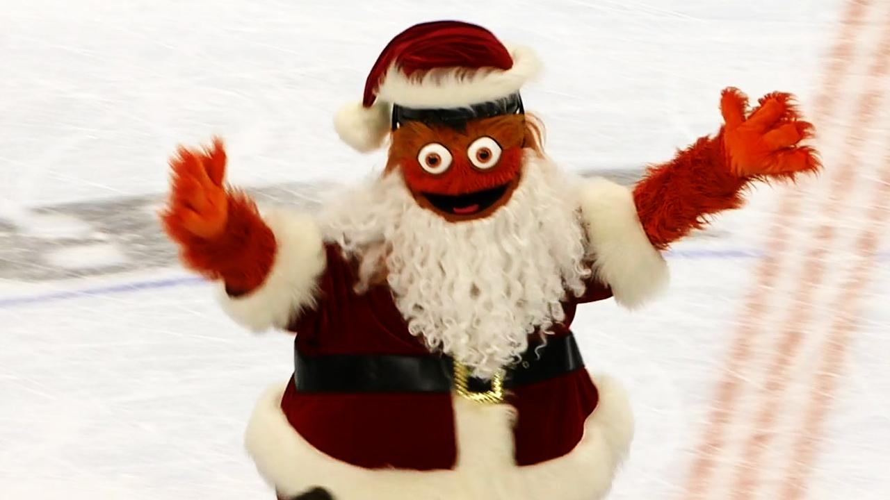 Gritty Claus takes down Santa in goalie race