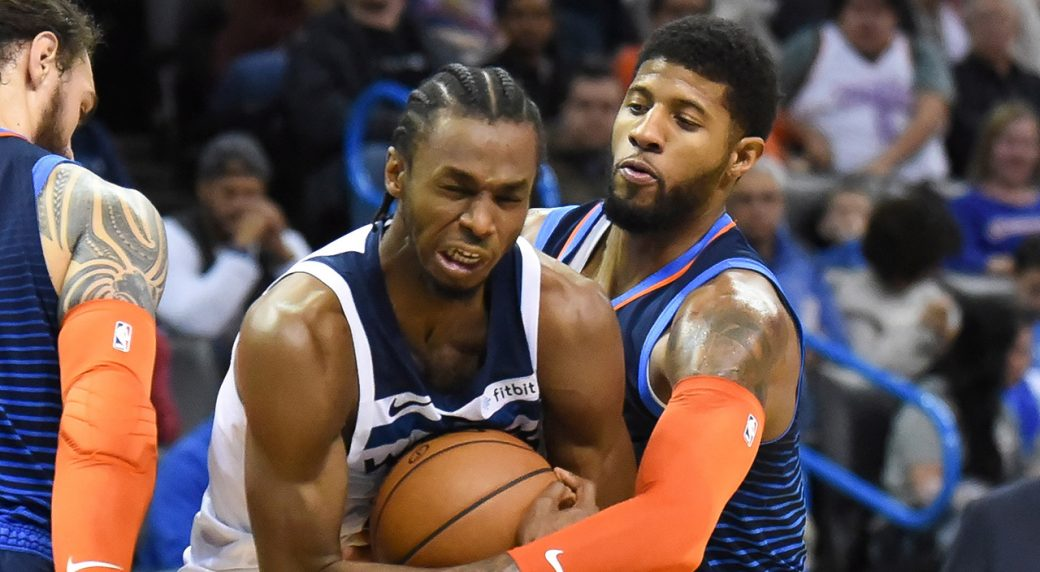 Wiggins scores 40, leads Wolves past Thunder in Saunders' debut