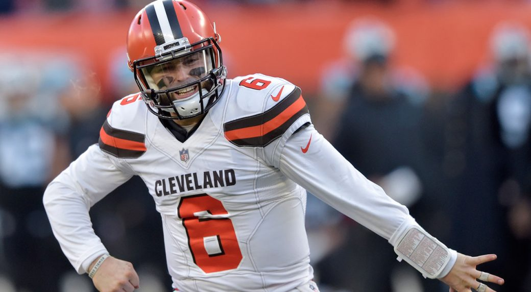 f43494588 Cleveland_Browns_QB_Baker_Mayfield. Cleveland Browns quarterback Baker  Mayfield celebrates a touchdown.