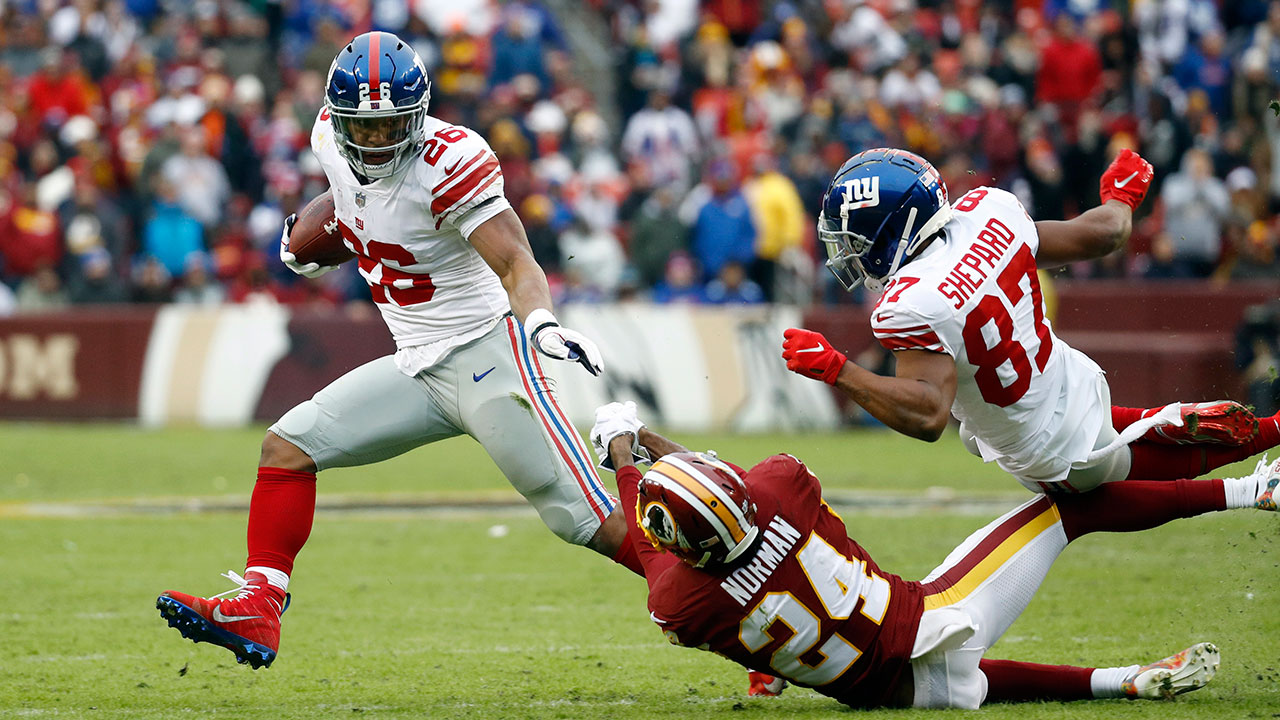 7d4946a46be Barkley's 170 rushing yards lead Giants in rout of Redskins ...