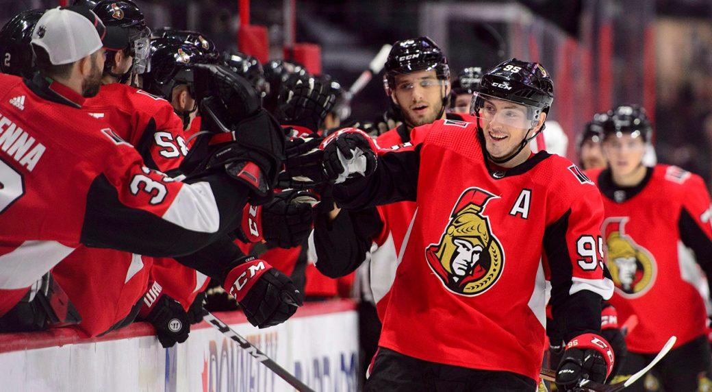 Ottawa Senators centre Matt Duchene celebrates a goal with his teammates  (Sean Kilpatrick CP) c698d81f4fe