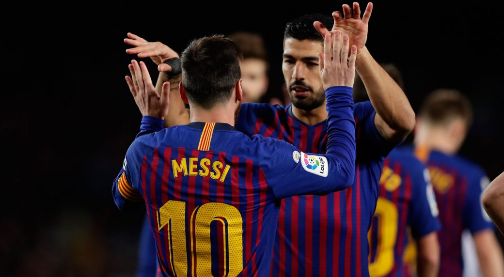 FC Barcelona s Lionel Messi celebrates after scoring his side s second goal  with his teammate Luis Suarez during the Spanish La Liga soccer match  between FC ... e274982de9b09