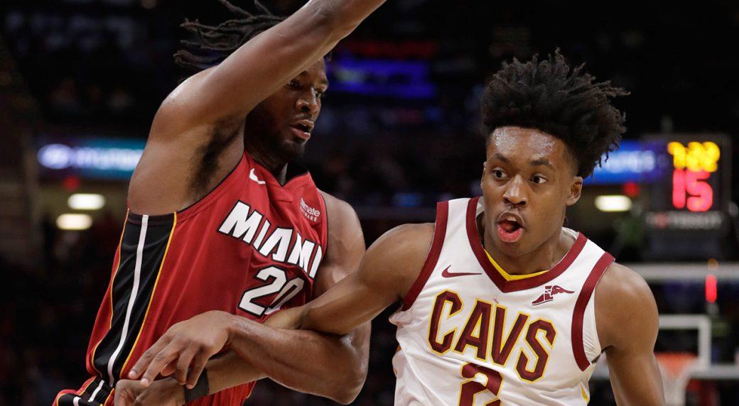 220d79115398 Winslow scores 27 to lead Heat past Cavaliers. Cleveland Cavaliers  Collin  Sexton ...