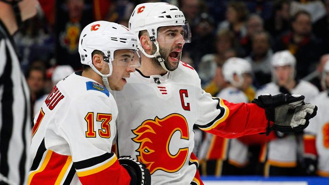 NHL-Flames-Gaudreau-celebrates-goal-with-Giordano