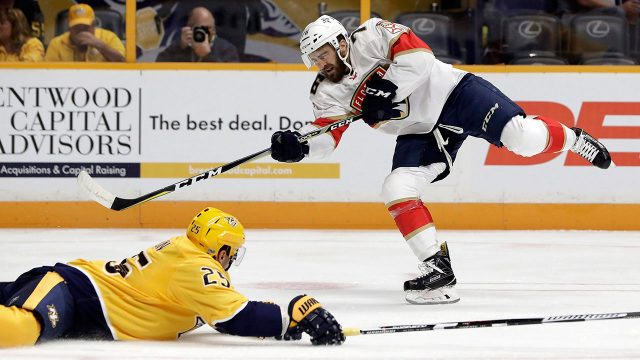 NHL-Panthers-Greco-shoots-against-Predators