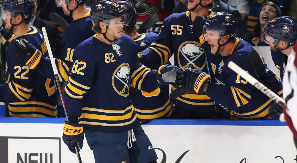 b3649cefc4a Buffalo Sabres defenceman Nathan Beaulieu (82) celebrates his goal during  the second period of an NHL hockey game against the Colorado Avalanche,  Thursday, ...
