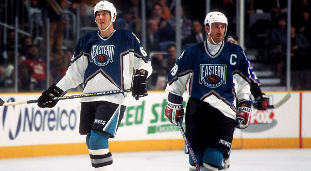 7ec3c0cd3 Mario Lemieux of the Pittsburgh Penguins and Wayne Gretzky of the New York  Rangers skate for the Eastern Conference team at the 1997 NHL All-Star Game  in ...