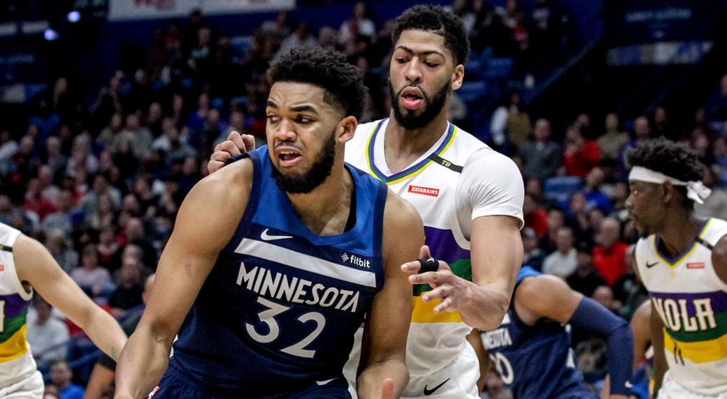 Minnesota Timberwolves center Karl-Anthony Towns works against New Orleans  Pelicans forward Anthony Davis. (Scott Threlkeld AP) 77c8103d3