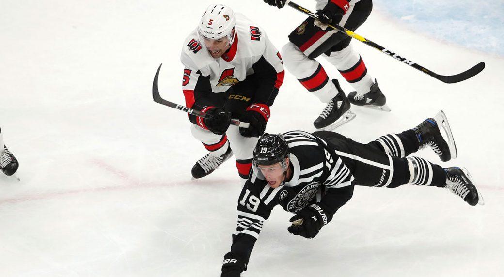 8bb9150a626 Chicago Blackhawks centre Jonathan Toews (19) dives for the puck in front  of Ottawa Senators defenceman Cody Ceci (5). (Jeff Haynes AP)
