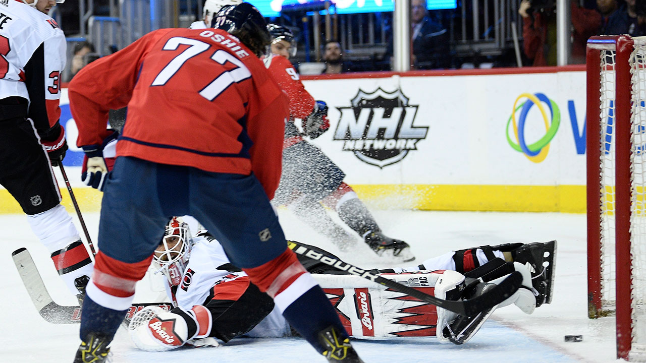 Oshie Gets His 20th As Caps Hammer Rudderless Senators
