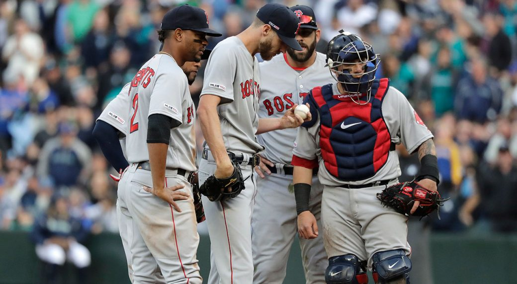 size 40 8be58 abfbd Boston Red Sox starting pitcher Chris Sale holds the ball during a mound  conference in the third inning against the Seattle Mariners. (Ted S.  Warren AP)