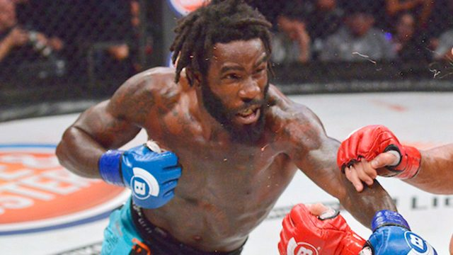 Daniel-Straus-throws-punch-in-bellator-cage