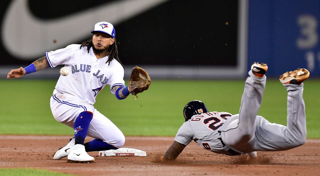 51785186d37 Toronto Blue Jays shortstop Freddy Galvis (16) waits for the throw before  tagging out Detroit Tigers DH Niko Goodrum on a steal. (Frank Gunn CP)