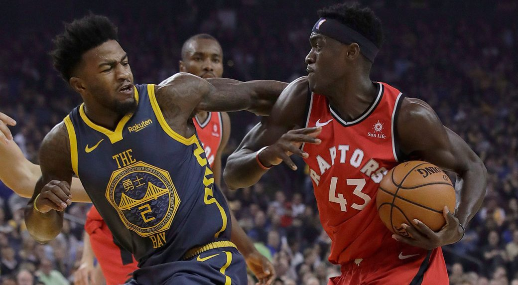 3cc79fc3ec9 Toronto Raptors forward Pascal Siakam (43) drives to the basket against  Golden State Warriors forward Jordan Bell (2) during the first half of an  NBA ...